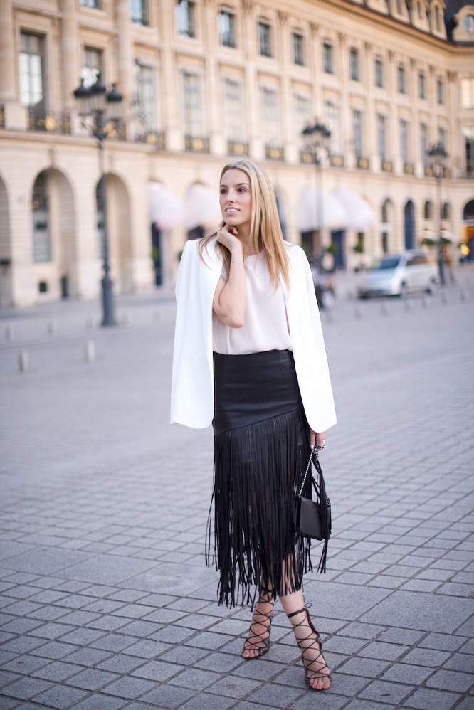 Paris, Fringe Skirt, Street Style, Pink Top, Isabel Marant Shoes, Place Vendom