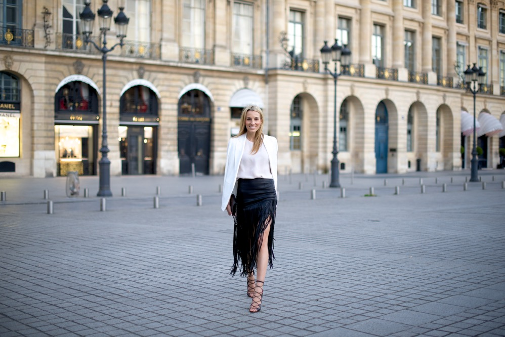 Paris, Fringe Skirt, Street Style, Rag & Bone Top, Isabel Marant Shoes, Chanel