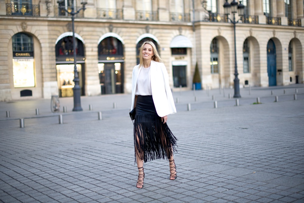 Paris, Fringe Skirt, Street Style, Pink Top, Isabel Marant Shoes, White Blazer, France
