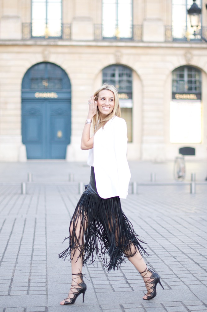 Paris, Fringe Skirt, Street Style, Pink Top, Isabel Marant Shoes, White blazer