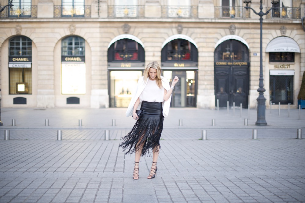 Paris, Fringe Skirt, Street Style, Pink Top, Isabel Marant Shoes, Place Vendome, France