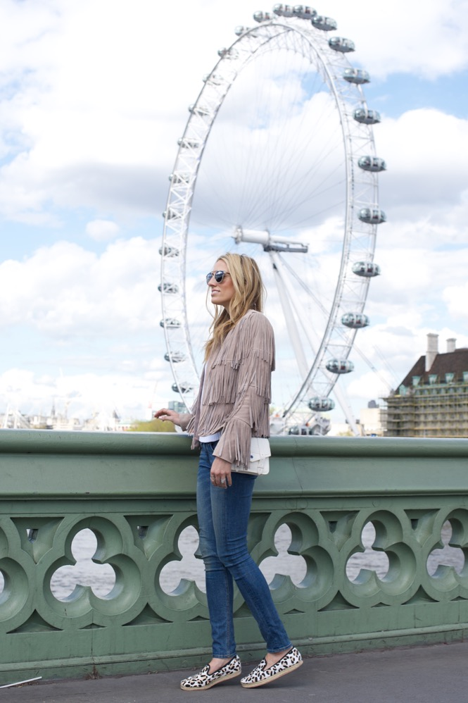 London, Fringe Jacket, Leopard Espadrilles, Skinny Jeans, London Eye