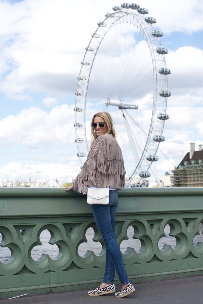 London, Fringe Jacket, Leopard Espadrilles, Skinny Jeans, London Eye 1