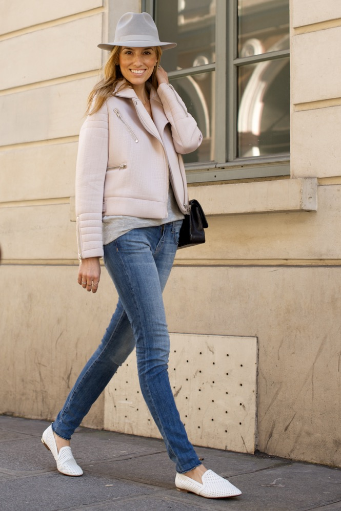 Paris Street Style Pink Moto jacket, Jeans, White Flats