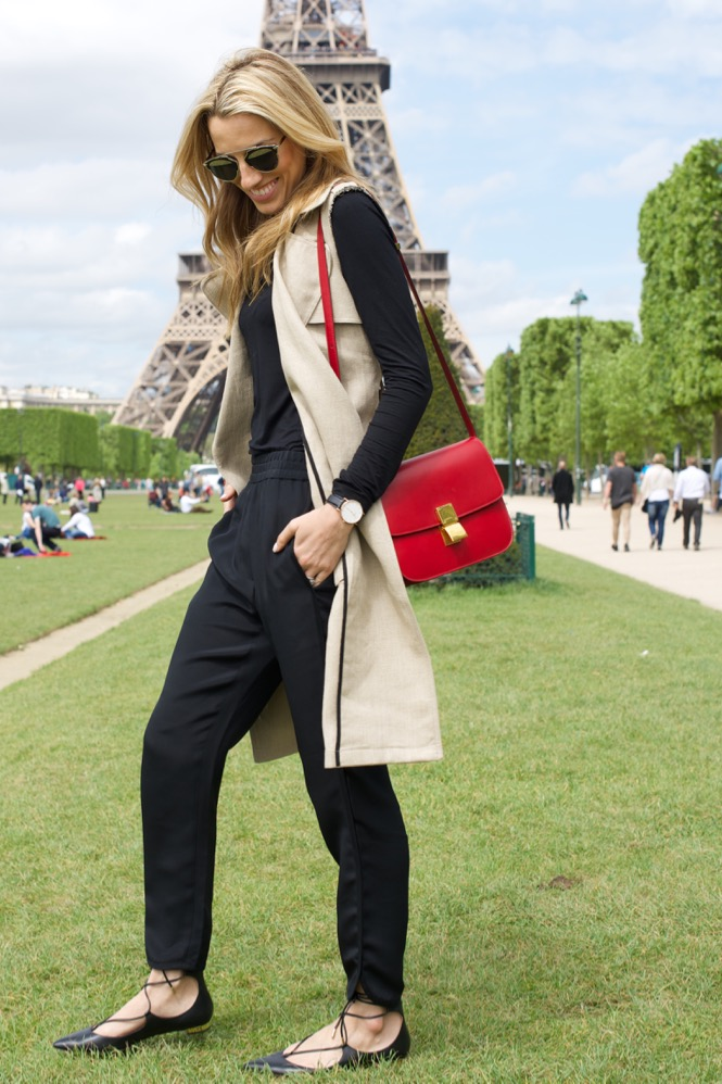 Theory Trench, Aquazzura flat, Celine Red Bag