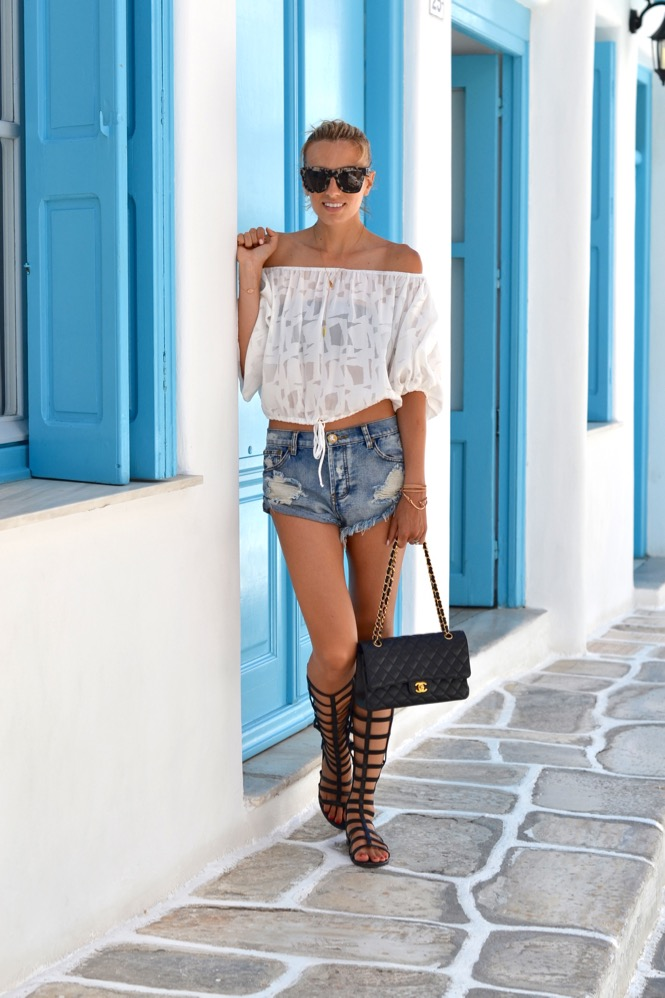 Mykonos, Greece, One Teaspoon, Off the shoulder top, Chanel, Gladiators,