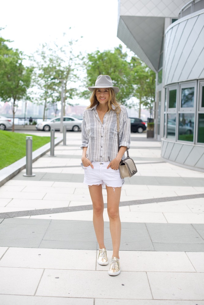 Free People Striped Shirt, Grey Hat, Gold Sneakers