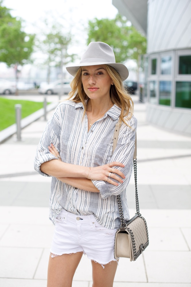 White Shorts, Free People Striped Shirt, Grey Hat, Gold Sneakers, Chanel