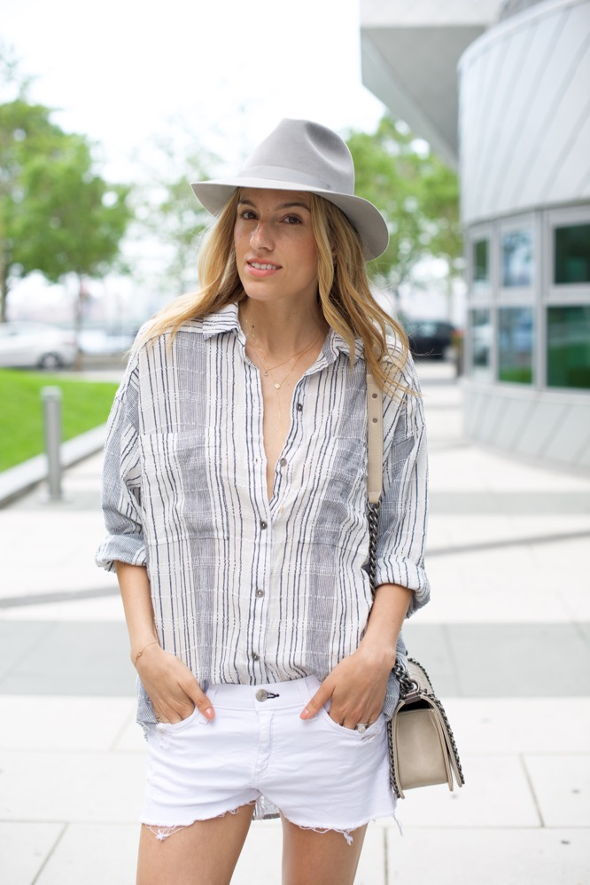 Free People Striped Shirt, Gold Sneakers, Chanel Boy Bag, London Hat