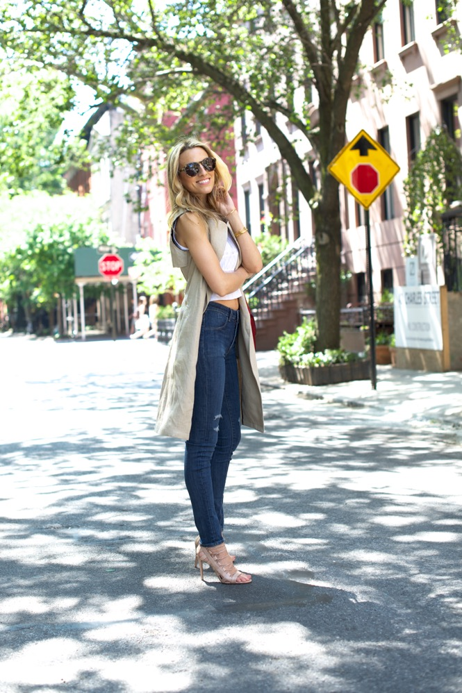 HIgh Waisted Jeans-Crop Top-Theory Vest - 2 of 10