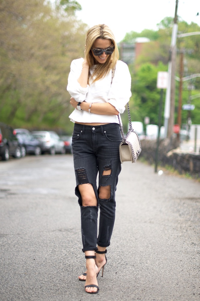 Black and White, Ripped Jean , Chanel Boy Bag, Street Style, Spring 2015