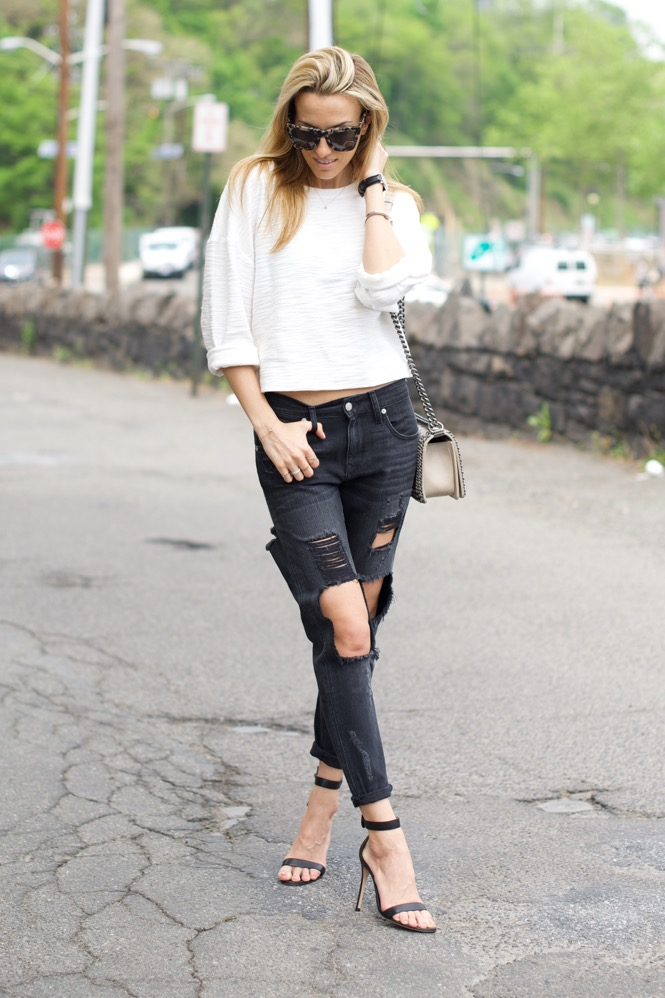 Black and White, Ripped Jean , Chanel Boy Bag 5