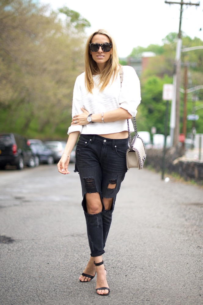 Black and White, Ripped Jean , Chanel Boy Bag, Street Style, Gianvito Rossi