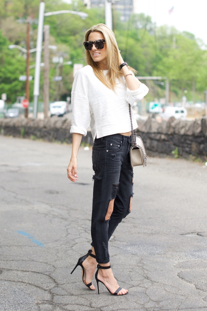 Black and White, Ripped Jean , Chanel Boy Bag, Street Style, Lovers + Friends