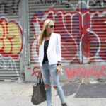 White Blazer and Ripped Jeans in Soho