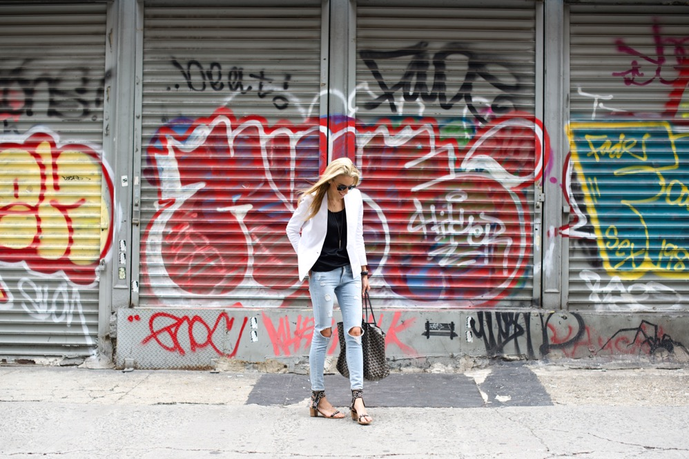 White Blazer, Ripped Jeans, Isabel Marant Heels