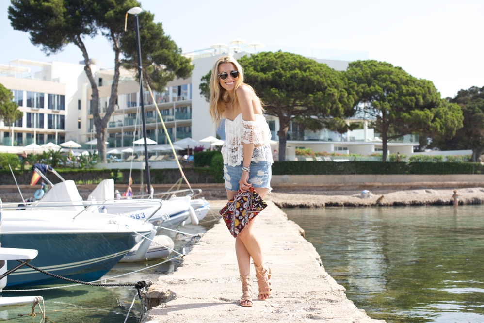 Boho Chic-Ibiza-Travel-Denim Shorts-Spain, Lovers + Friends, Off the shoulder top