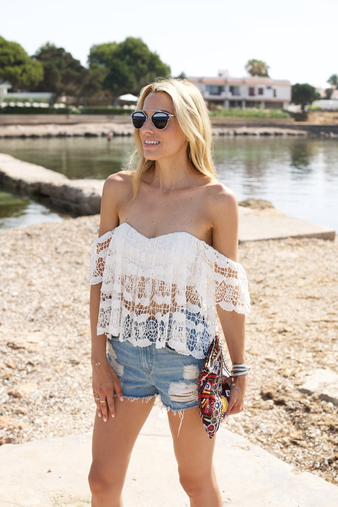 Boho Chic, Gladiator Sandals, Schutz, Ibiza,Travel,Denim Shorts, Spain, Lovers + Friends, Off the shoulder top