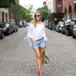 Tibi Off The Shoulder Top & Levi's Shorts
