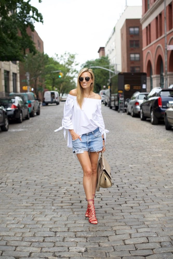 Tibi Off The Shoulder Top- Levi's Shorts
