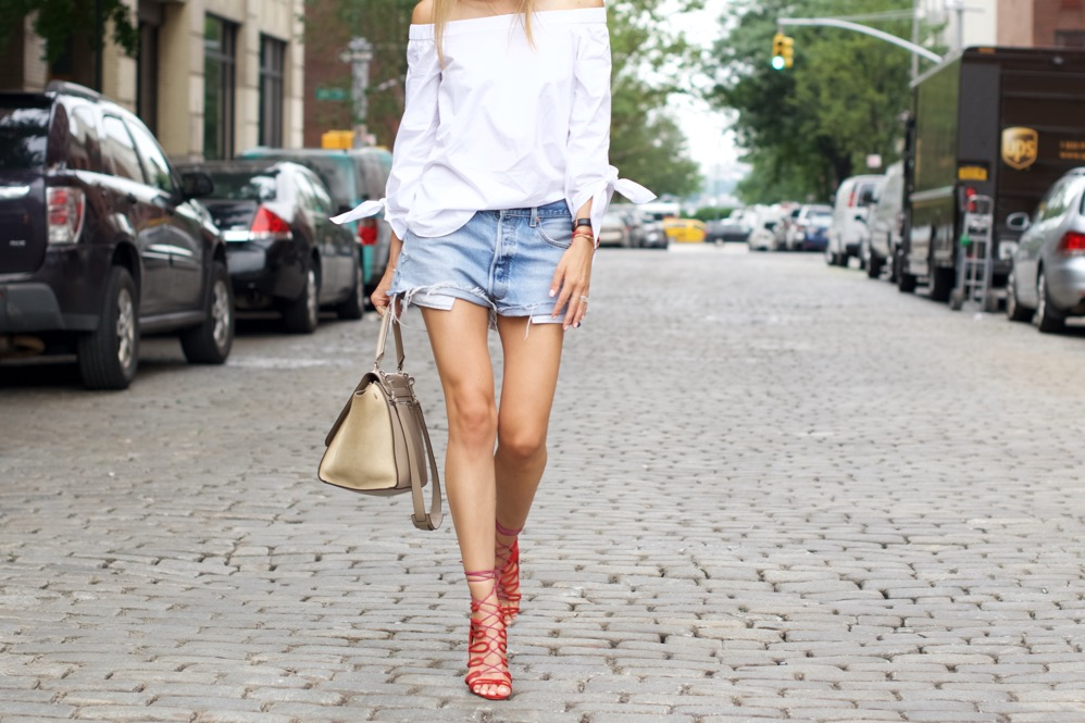 Tibi Off The Shoulder Top- Levi's Shorts-Schutz Heels