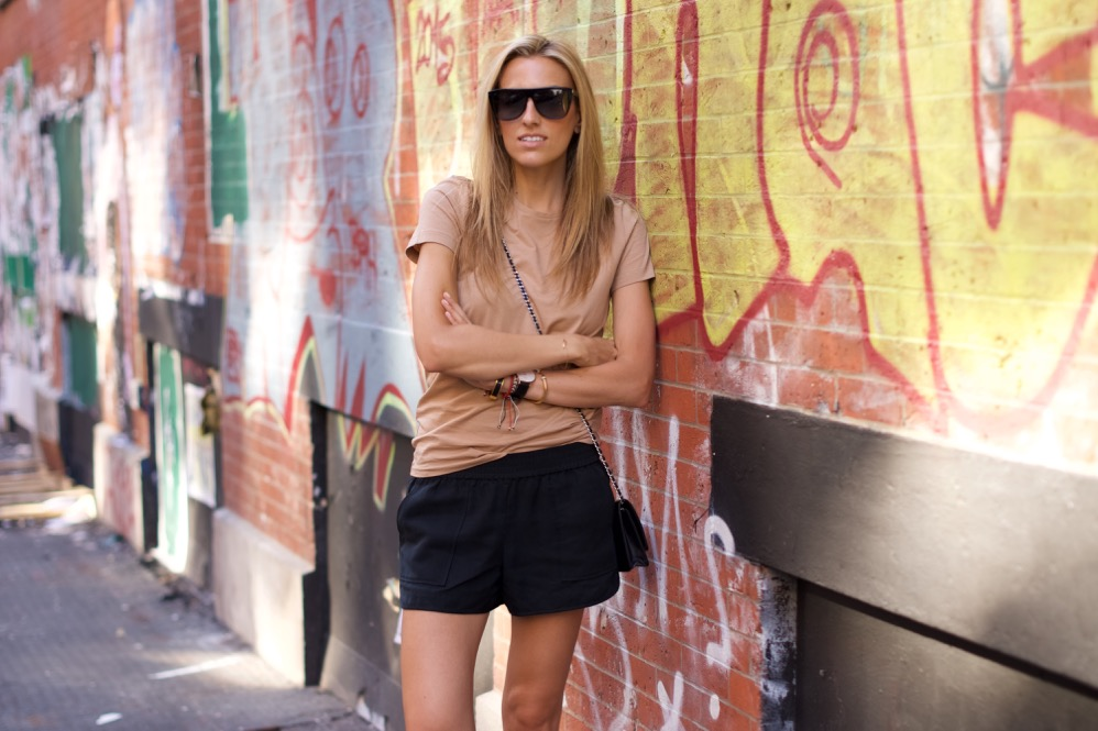 Soho Street Style, NYC Fashion Blogger, Black Shorts, Gladiator Sandals, Chanel Bag