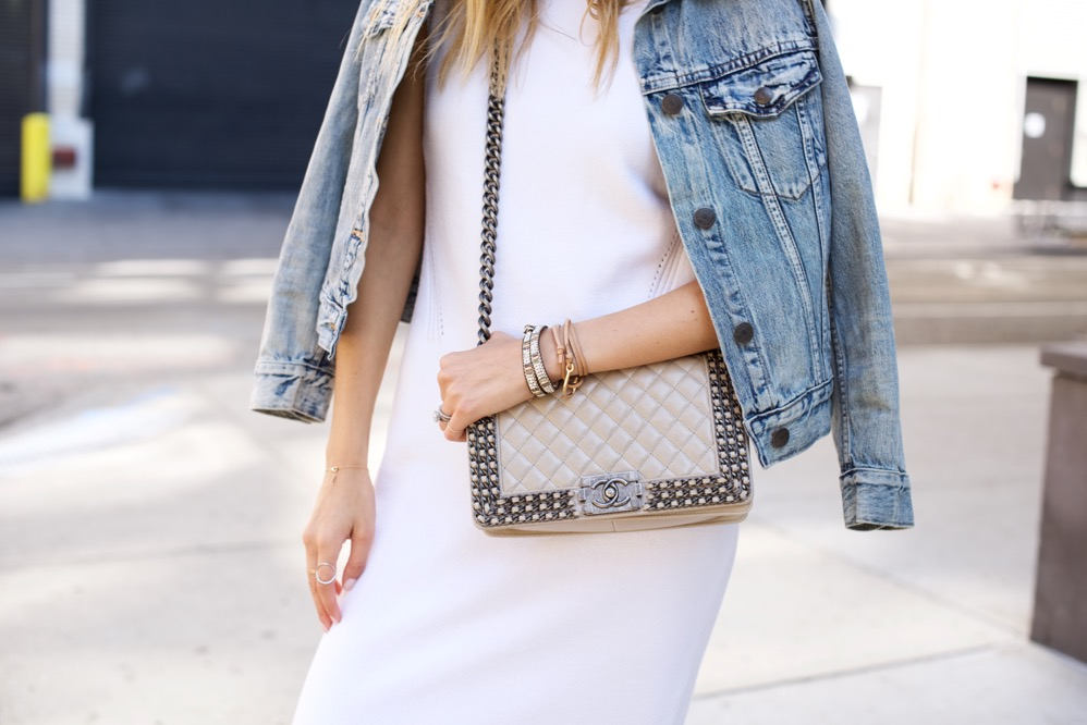 ASOS Knit Dress, Denim Jacket, Isabel Marant Boots, Chanel Boy Bag