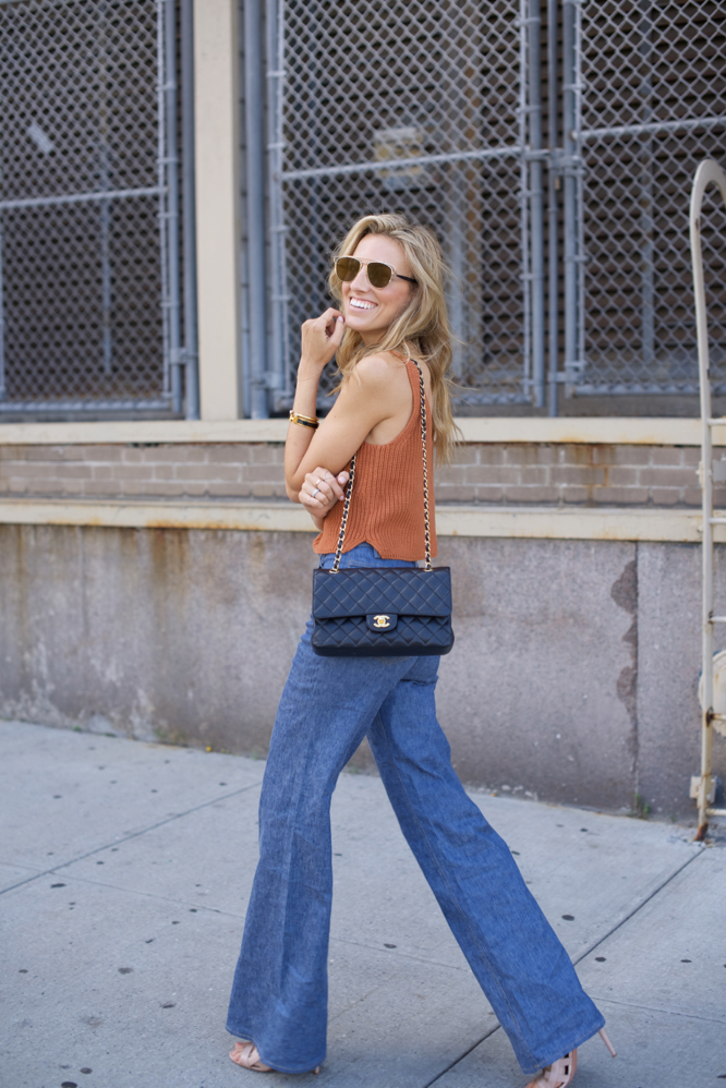 NYFW- 70s-Street Style, Flared jeans, Chanel
