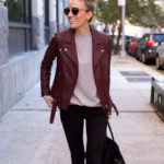 Fall Uniform In Black Jeans x Burgundy Leather Jacket