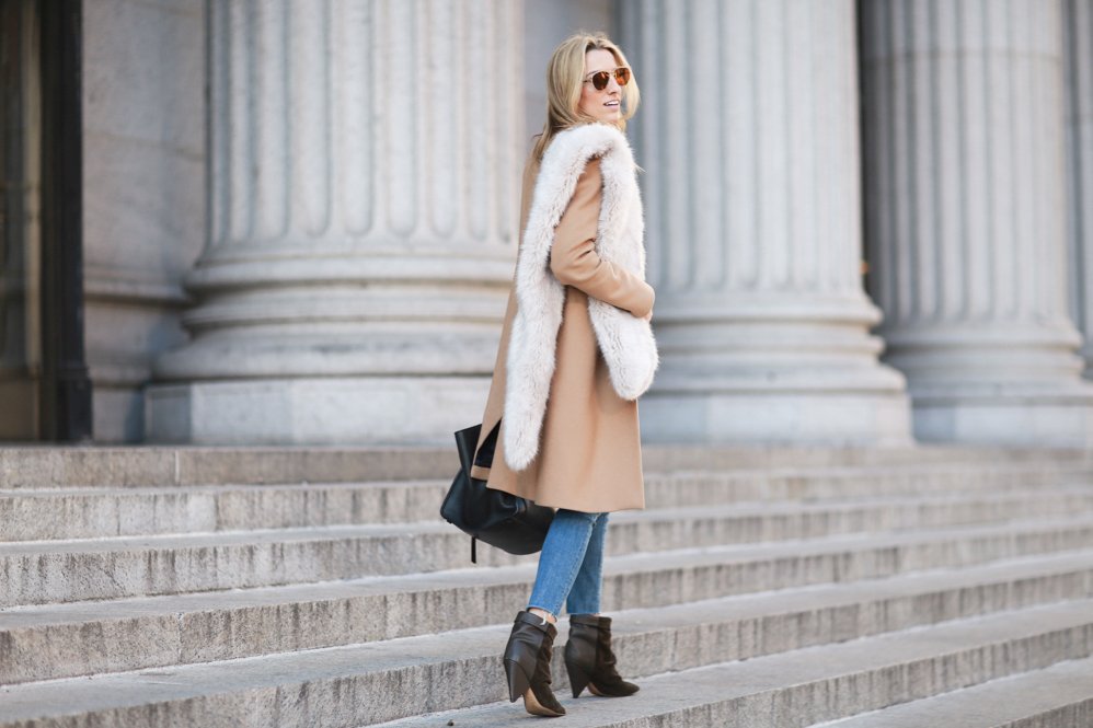 Camel Coat-Faux Fur Stole-Jeans-NYC Style