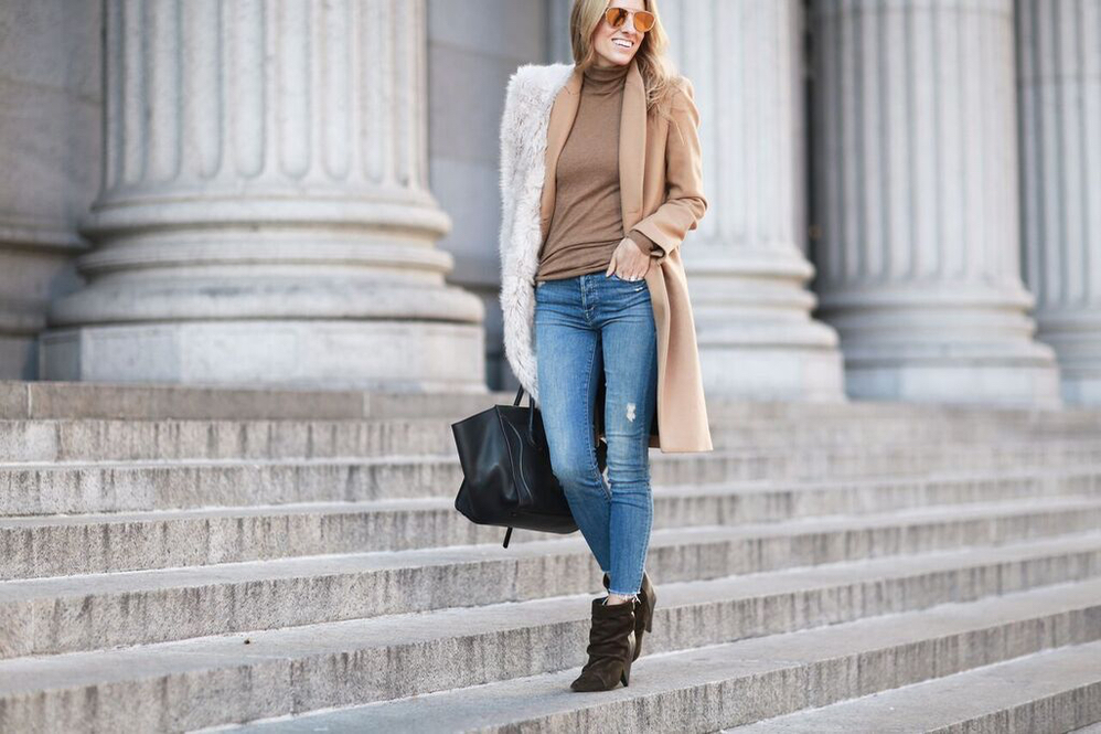 Camel Coat-Faux Fur Stole-Jeans-NYC Style - 11 of 13