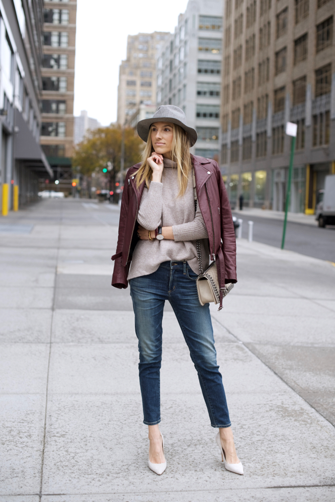 Girlfriend Jeans-Madewell Sweater-Nude Pumps-NYC Style