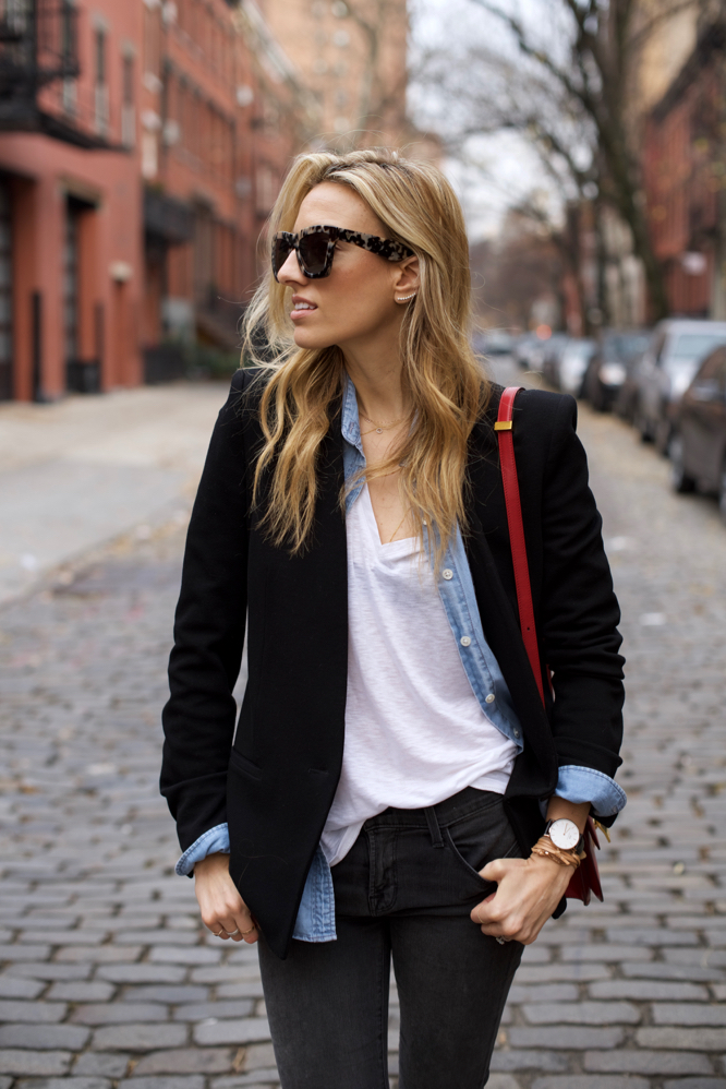 Street Style,Basics,Red Celine box bag, Denim Shirt
