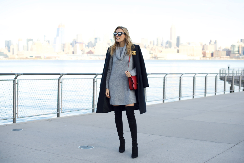 Sweater Dress-Over The Knee Boots-Celine Box Bag