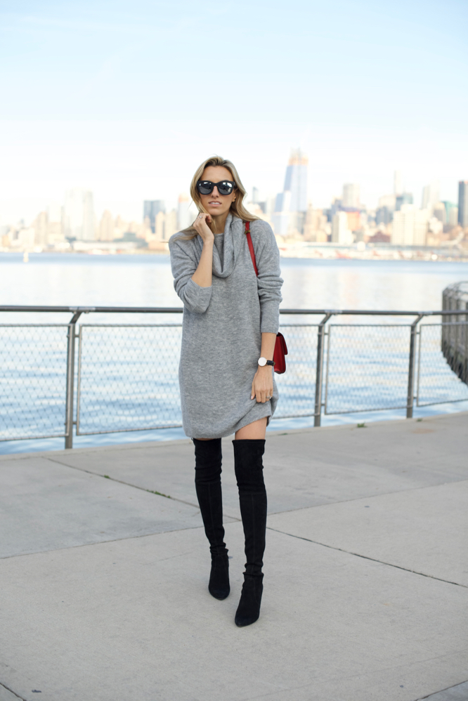 Sweater Dress-Over The Knee Boots-Celine Box Bag - 8 of 12