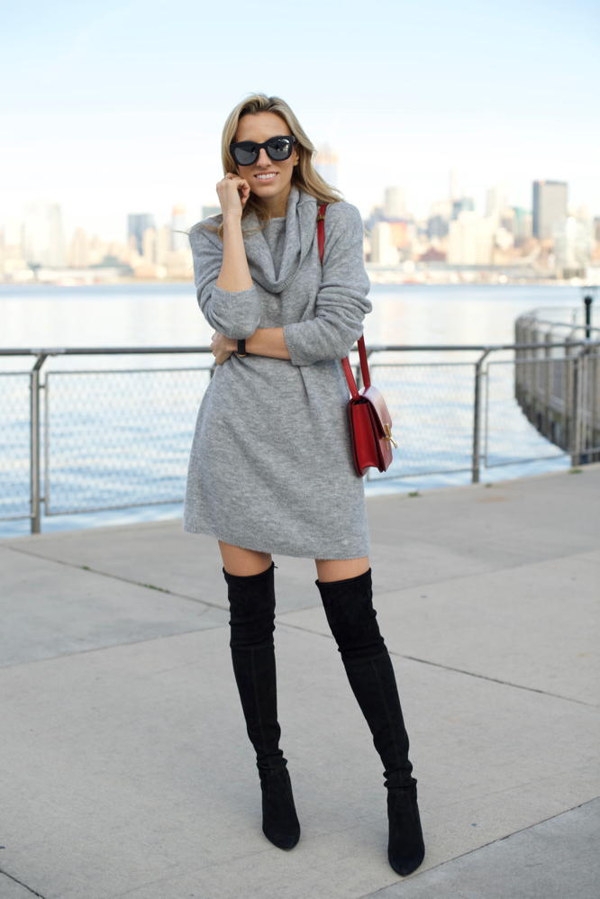 Sweater Dress & Over the Knee Boots - Mind Body SwagMind Body Swag