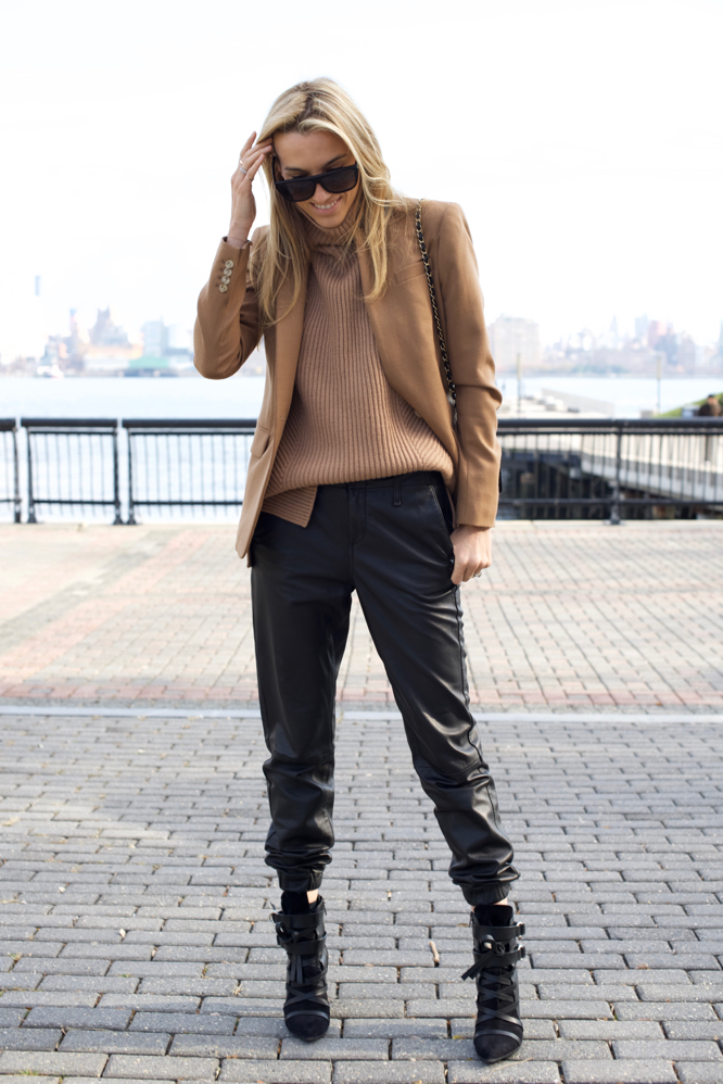 Vince Turtleneck Sweater, Leather Joggers, Chanel, NYC Style