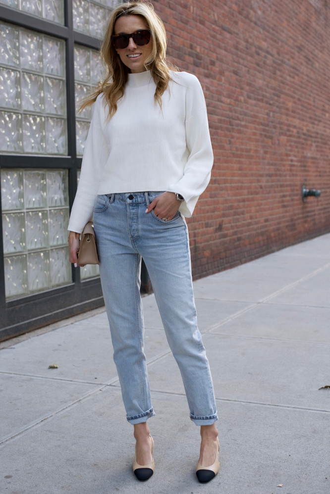 Chanel Slingbacks- NYC Street Style- Alexander Wang Jeans