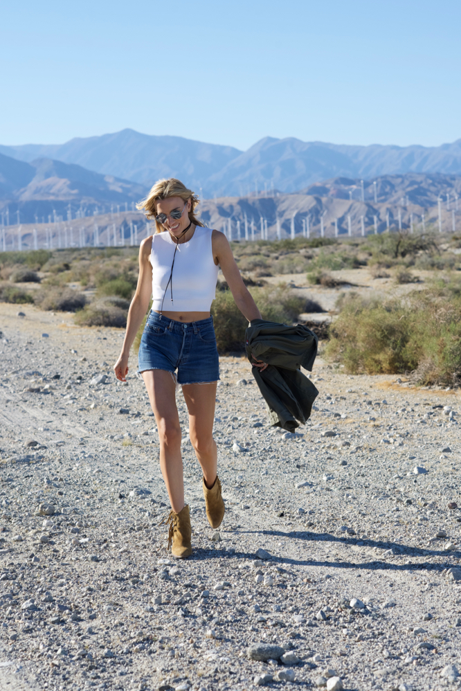Coachella Festival Style-Palm Springs-Gentle Monster-Choker-Levi's Shorts