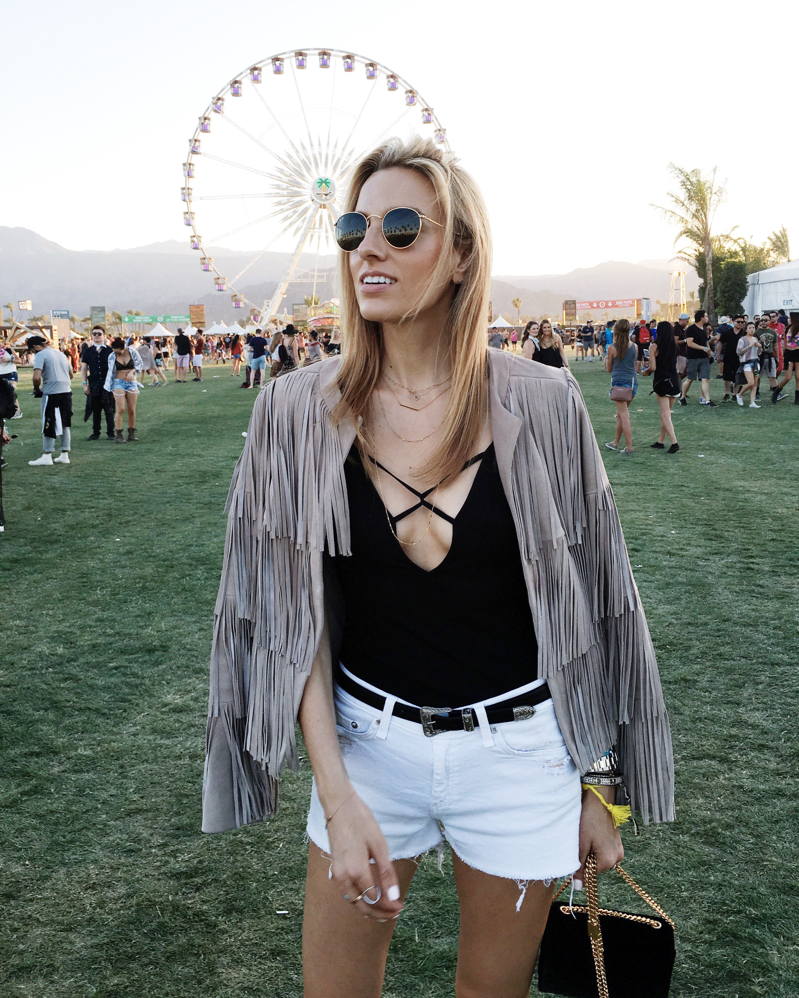 Coachella Style, Fringe Jacket, White Shorts, Bodysuit, Ray Ban Sunglasses