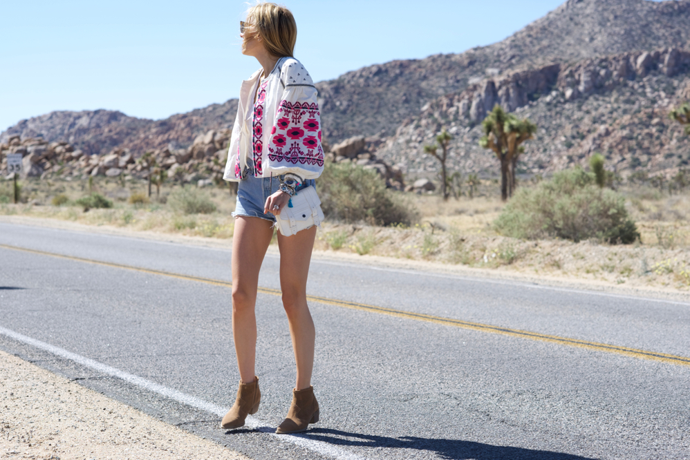 White Bag, Spring Outfit, Embroidered Free People Jacket, Re/Done Jeans, Shorts, Coachella Style 2016