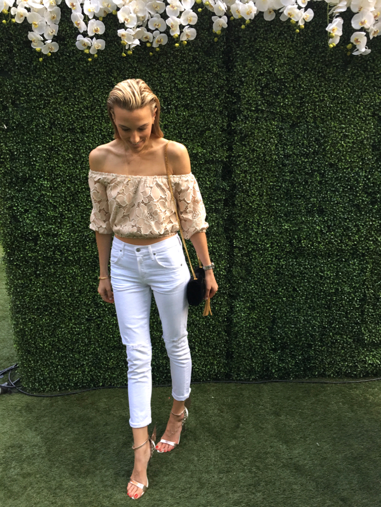 Garden Party, Revolve Clothing, White jeans, Angel Shoes