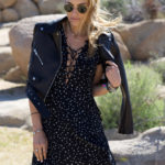 Cropped Leather Moto Jacket & Printed Dress in Joshua Tree