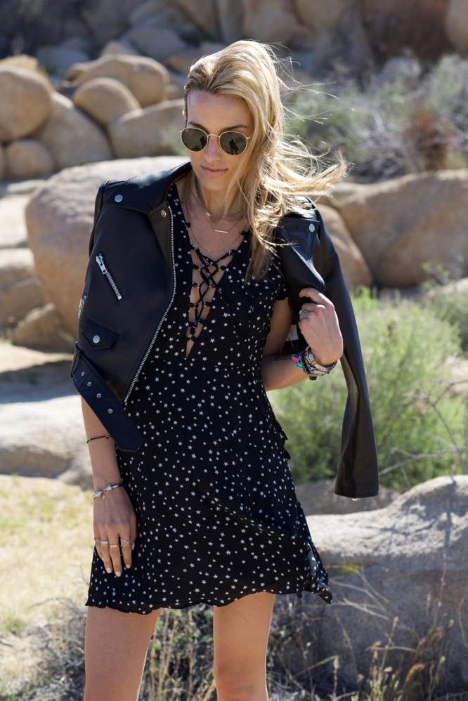 Lace up dress, Leather moto jacket, Chloe boots, Ray-Ban sunglasses