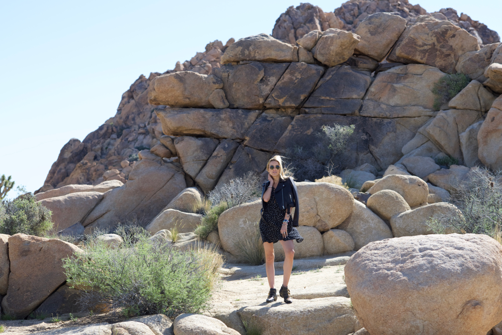 black dress, black leather jacket, Chloe Booties, California, Travel, Coachella
