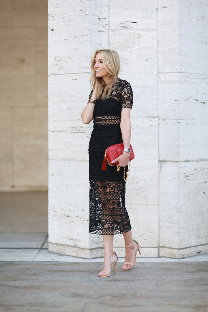Crochet Lace Dress-Express-Express Runway-Chanel Bag-Nude Heels