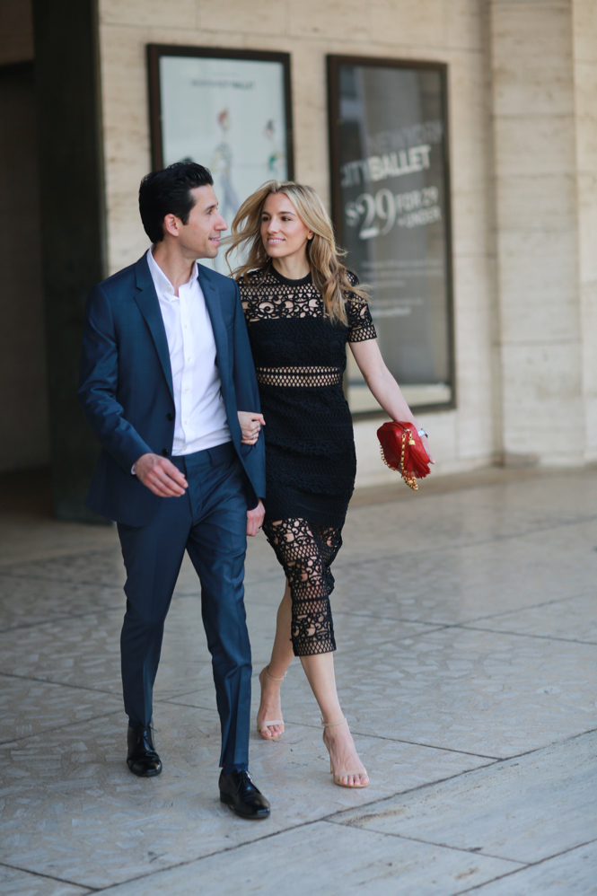 NYC Street Style, Ballet, Date Night Outfit, Express Runway, Suit, Express, Black Crochet Lace Dress, Innovator Suit