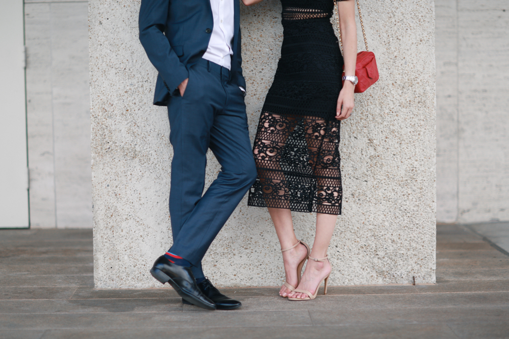 Express-New York City Ballet-Date Night-Couple Fashion -Lace Dress-Blue suit