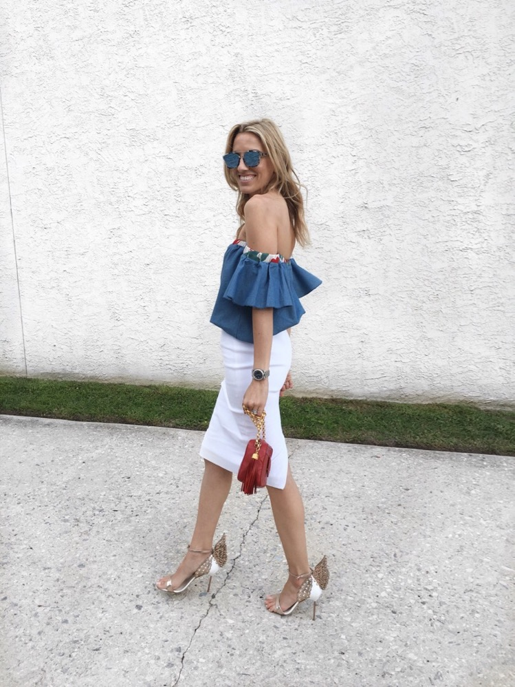 Off The shoulder, White Pencil Skirt, Sophia Webster Angel Shoes, Chanel, Dior Abstract Sunglasses