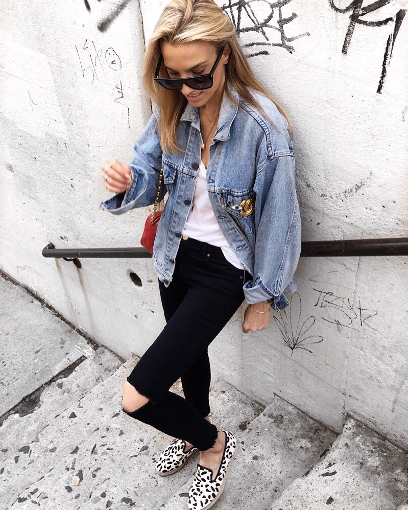 Denim on Denim, Leopard Shoes, Celine red Box bag